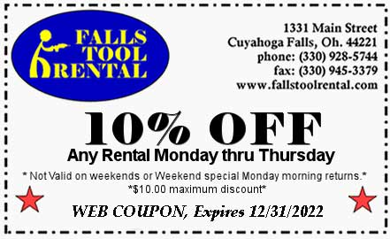 10% off any rental Monday thru Friday at Falls Tool Rental
